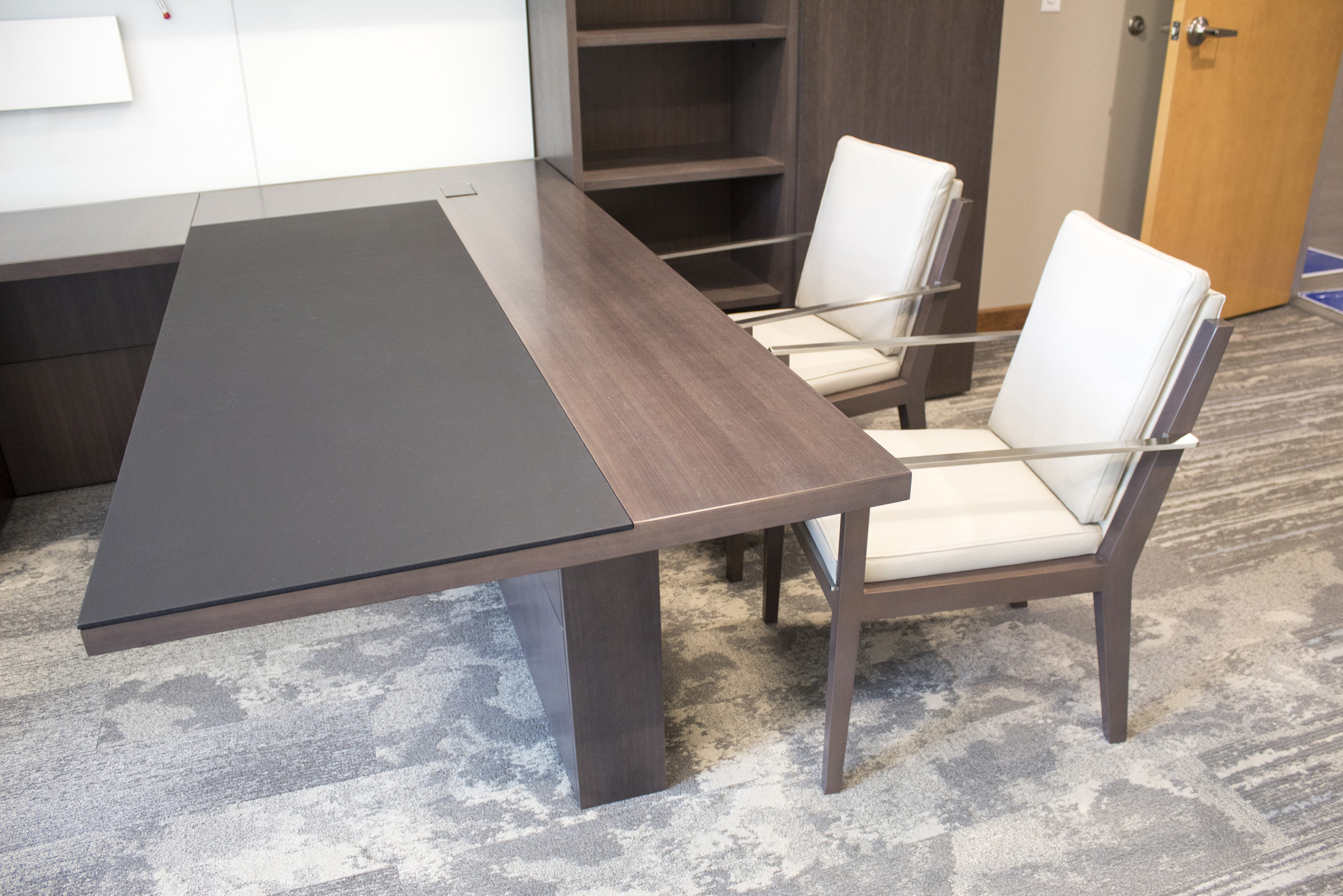 Executive Office with White and Brown Workstation Desk and Guest Chairs