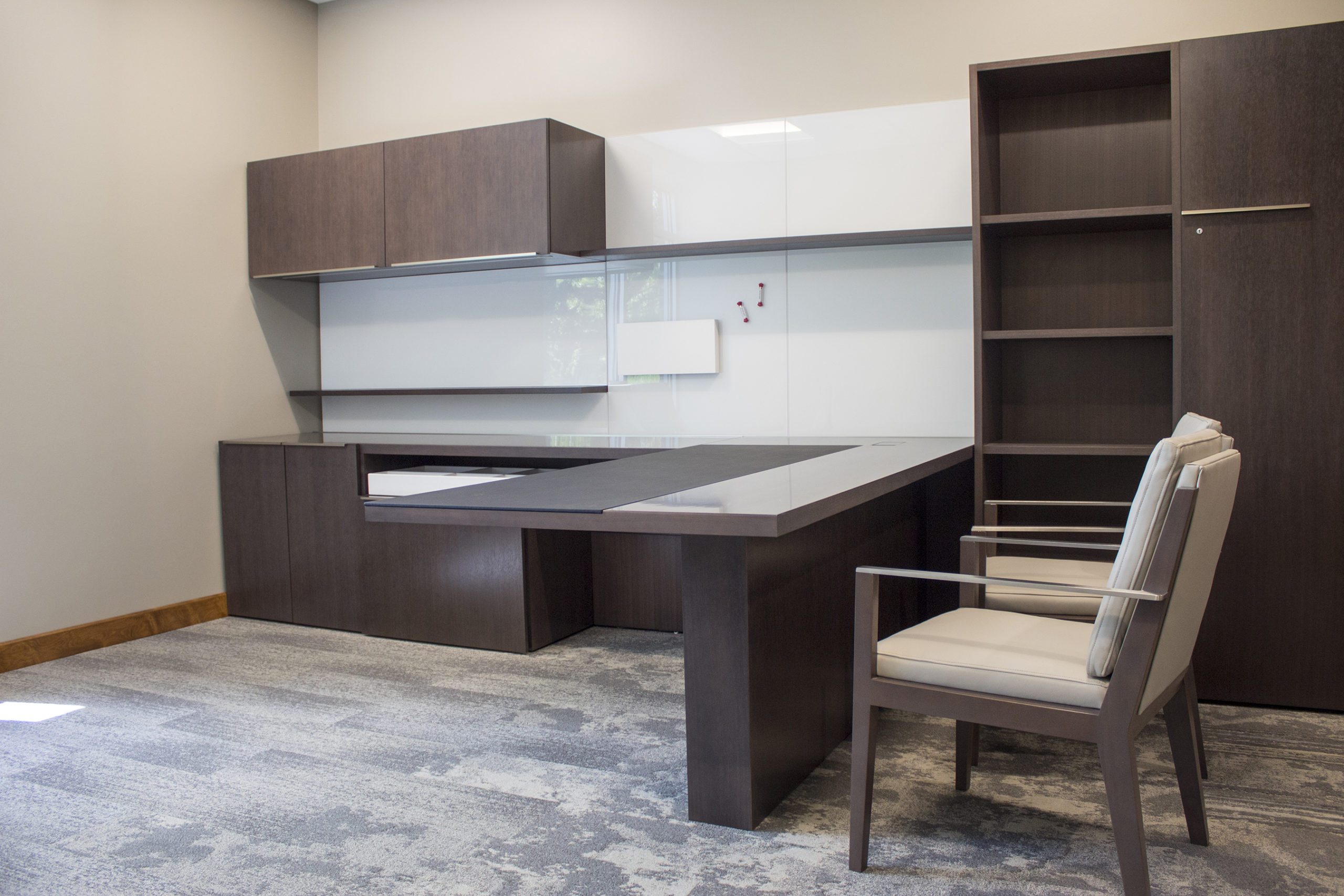 Executive Office with White and Brown Workstation
